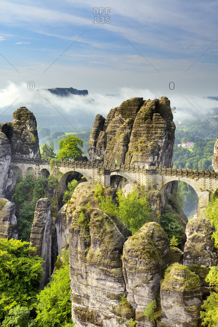 Germany, Saxony, Bastei Bridge, Saxon Switzerland, Saxon-Switzerland National Park.