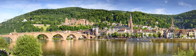 June 5, 2017: Germany, Heidelberg, View with Heidelberg Castle, old town city center and Old Bridge