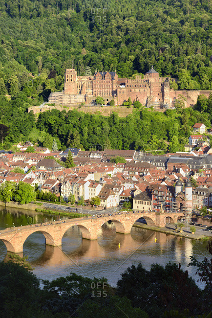 Germany, Heidelberg, View with Heidelberg Castle, old town city center and Old Bridge