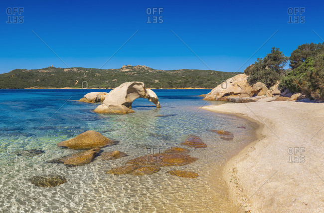 Italy, Sardinia, Olbia-Tempio district, Costa Smeralda, Arzachena, Mediterranean sea, Capriccioli beach, Roccia dell'Elefante