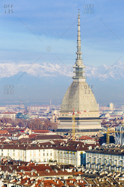 December 7, 2017: Italy, Piedmont, Torino district, Turin, Mole Antonelliana, View of Turin and Mole Antonelliana with snowy Alps in the background