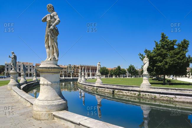 Italy, Veneto, Padova district, Padua, Padova, Prato della Valle, Statues along the canaletta
