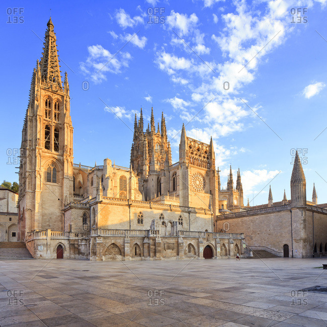 Spain, Castilla y Le�n, Burgos, Burgos Cathedral, Burgos district, Way of St. James, Route of Santiago de Compostela, View of the North side of the Cathedral in Burgos on the Way of St. James