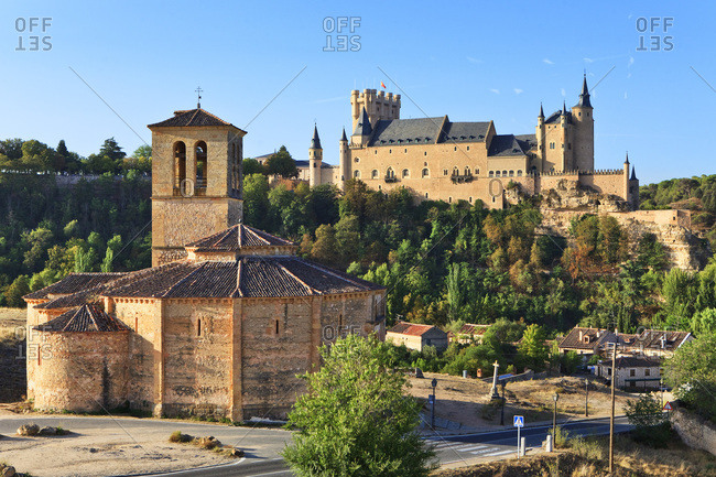 Spain, Castilla y Le�n, Segovia, Alcazar Castle, Segovia district, Alcazar castle and Vera Cruz Church