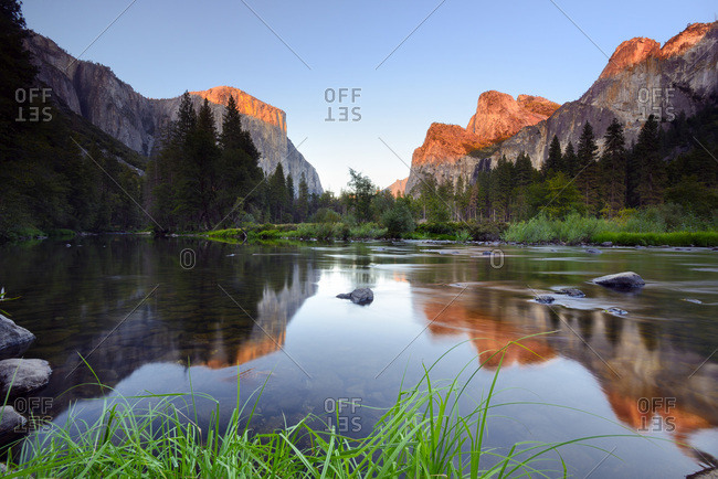 United States, California, Yosemite National Park, El Capitain and Yosemite Valley reflected on Merced river