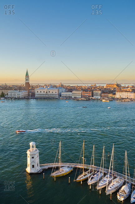 Italy, Veneto, Venezia district, Venice, San Giorgio Maggiore, Venetian Lagoon, Adriatic Coast, View towards San Marco square from the bell tower of the san Giorgio Maggiore church