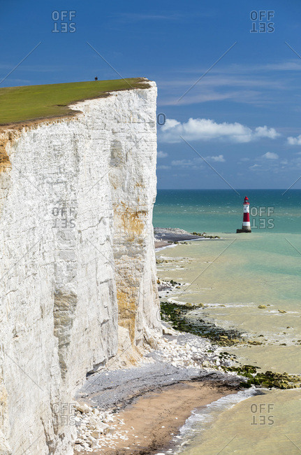 United Kingdom, England, East Sussex, Seaford, Great Britain, Seven Sisters Cliffs and the Beachy Head Lighthouse
