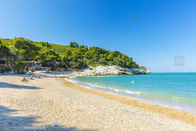 May 26, 2017: Italy, Apulia, Foggia district, Gargano, Vieste, Mediterranean sea, Adriatic sea, Adriatic Coast, Gargano National Park, Baia di Campi a famous beach between Vieste and Mattinata, along the Gargano coast.
