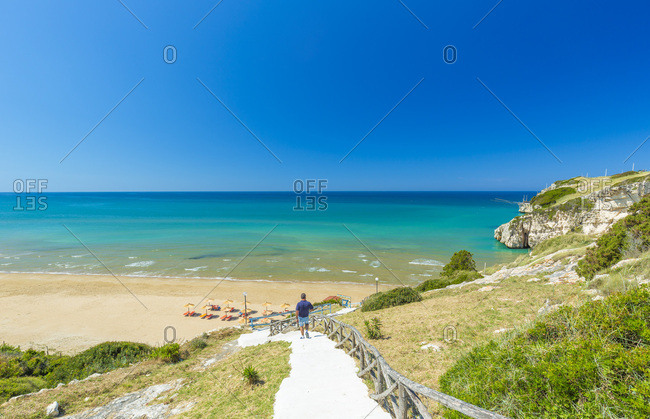 Italy, Apulia, Foggia district, Gargano, Peschici, Mediterranean sea, Adriatic sea, Adriatic Coast, Gargano National Park, Zaiana beach near Peschici, along the Gargano coast
