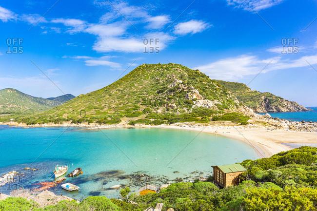 Italy, Sardinia, Cagliari district, Villasimius, Mediterranean sea, Tyrrhenian sea, Punta Molentis beach near Villasimius