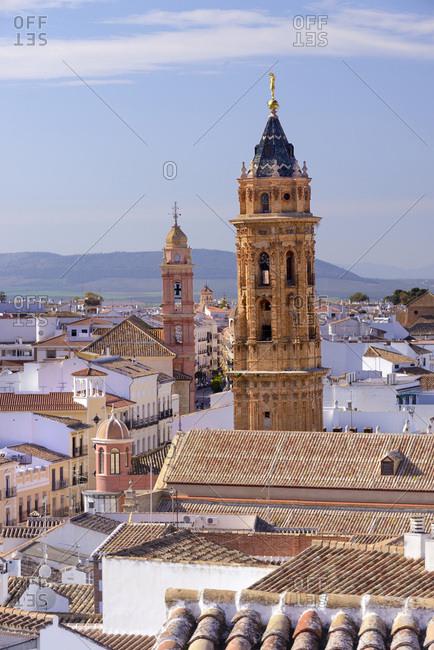 Spain, Andalusia, Antequera, Iglesia de San Sebasti�n and Convento de Madre de Dios de Monteagudo among the old town