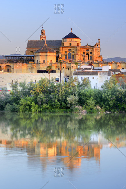 Spain, Andalusia, C�rdoba, La Mezquita Cathedral, The Mezquita of Cordoba reflected in Guadalquivir river
