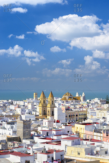 Spain, Andalusia, C�diz, Atlantic ocean, C�diz district, View over Cadiz from Torre Tavira with Parish of St Anthony of Padua