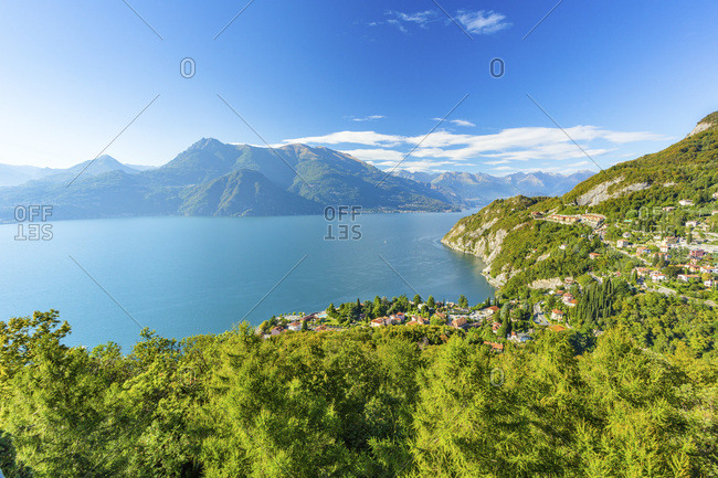 Italy, Lombardy, Lecco district, Como Lake, Varenna, View on the Varenna and Como lake from Castle of Vezio