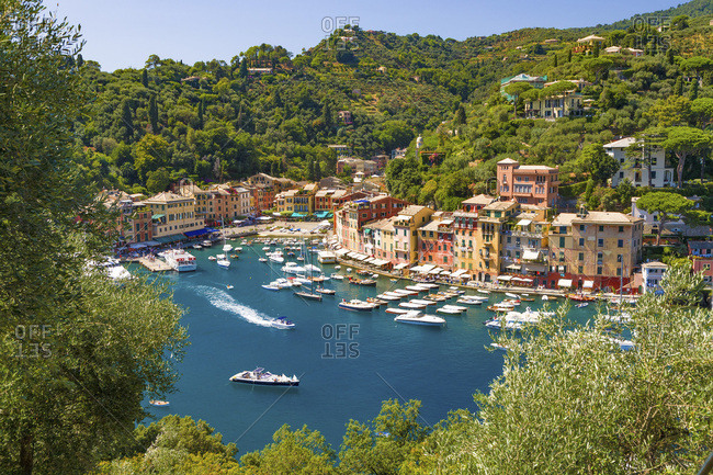 August 19, 2008: Italy, Liguria, Genova district, Riviera di Levante, Portofino, Mediterranean sea, Ligurian sea, Ligurian Riviera, The picturesque port of the village of Portofino, a famous holiday resort in Liguria