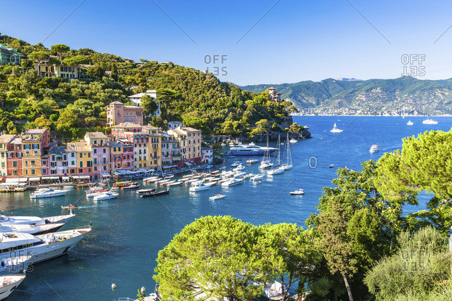 Italy, Liguria, Genova district, Riviera di Levante, Portofino, Mediterranean sea, Ligurian sea, Ligurian Riviera, The Picturesque port of the village of Portofino