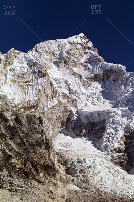 Nepal, Khumbu, Everest Region, Mount Nuptse 7.861 m from Gorak Shep village, Everest base camp trek, Khumbu Valley