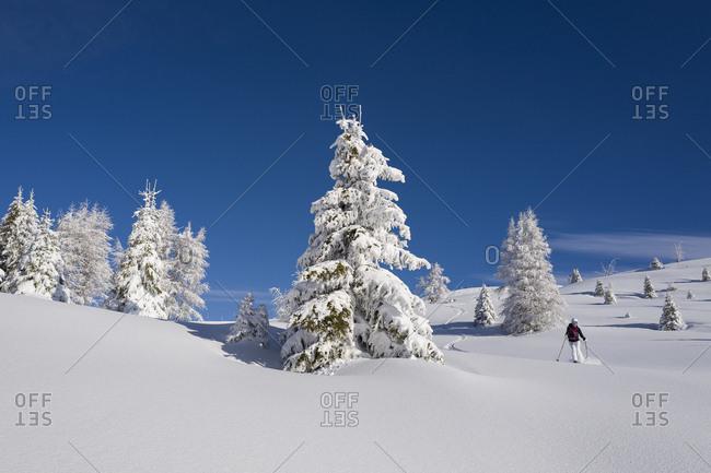 January 11, 2018: Italy, Trentino-Alto Adige, Bolzano district, Alta Badia, Alps, Dolomites, Freeride skiing in Alta Badia, Dolomites