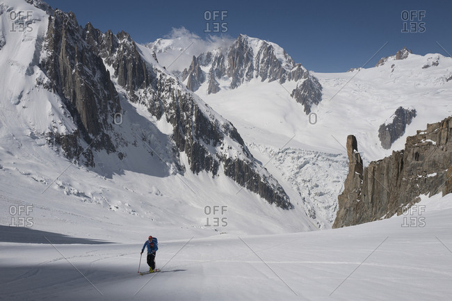 May 7, 2018: France, Auvergne-Rh�ne-Alpes, Chamonix Mont Blanc, Alps, Haute-Savoie, Climbing up to the start of the Couloir Du Capucin