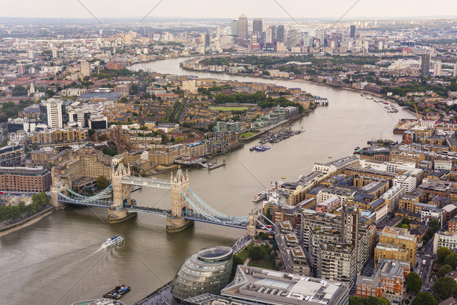 September 1, 2017: United Kingdom, England, London, City of London, Tower Bridge, Great Britain, Thames, View from the Shard