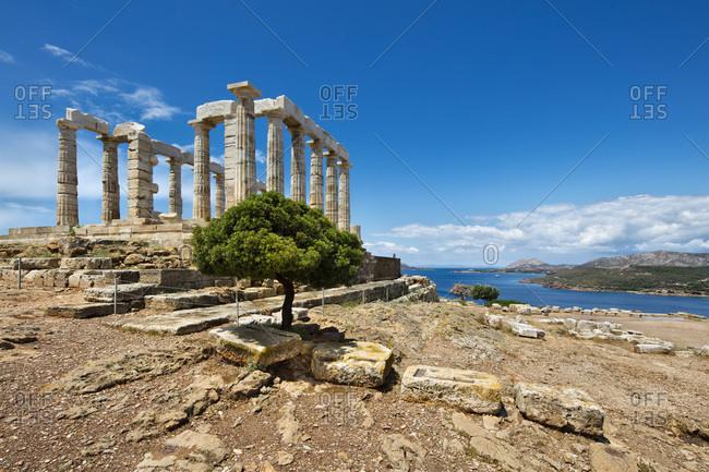Greece, Central Greece and Euboea, Attica, Cape Sunion, Aegean sea, Temple of Poseidon