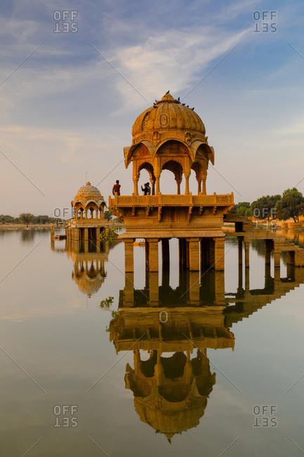 January 30, 2018: India, Rajasthan, Jaisalmer, Gadi Sagar Lake at sunrise