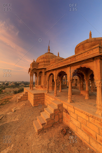 India, Rajasthan, Jaisalmer, Vyas Chhatris cenotaphs at sunrise