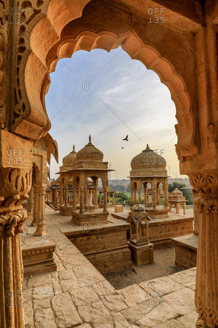 India, Rajasthan, Jaisalmer, Vyas Chhatri royal tombs at sunset