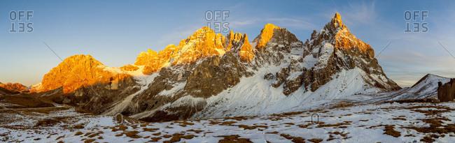 Italy, Trentino-Alto Adige, Trento district, Parco Naturale Paneveggio Pale di San Martino, Alps, Dolomites, View of Pale di San Martino