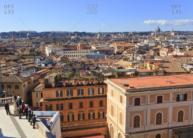 February 13, 2018: Italy, Latium, Roma district, Rome, Quirinal Palace, Quirinale, Seven Hills of Rome, Mediterranean area, View form a terrace overlooking the roofs of Rome and Saint Peter's Basilica in the back