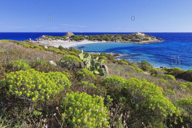 Italy, Sardinia, Cagliari district, Villasimius, Mediterranean sea, Punta Molentis bay and beach