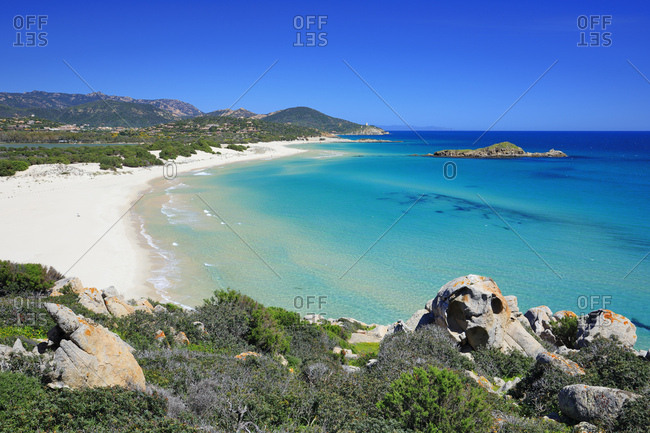 Italy, Sardinia, Cagliari district, Costa del Sud, Chia, Mediterranean sea, Su Giudeu beach and the same-named small islet in front of it
