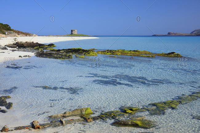 Italy, Sardinia, Sassari district, Stintino, La Pelosa beach, Mediterranean sea, La Pelosa beach and Isola Piana viewing tower