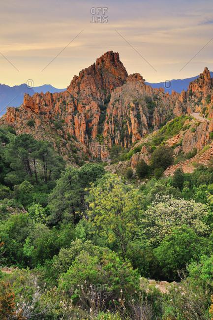 France, Corsica, Calanques de Piana, Corse-du-Sud, Landscape in the heart of the famous Unesco listed rock formations