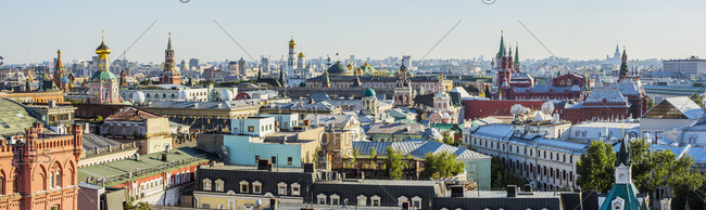 Russia, Moscow Oblast, Moscow, View of the town from the rooftop viewpoint of Central Children's Store on Lubyanka