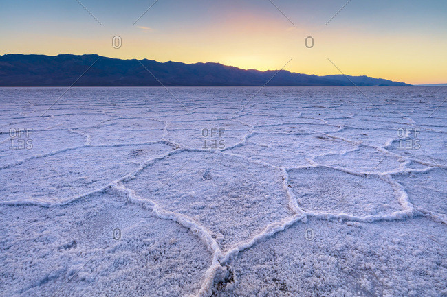 United States, California, Death Valley, Iconic view of the salty Badwater basin in the Death Valley at sunset