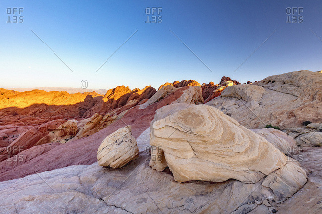 United States, Nevada, Valley of Fire State Park, The iconic view of Valley of Fire at sunset