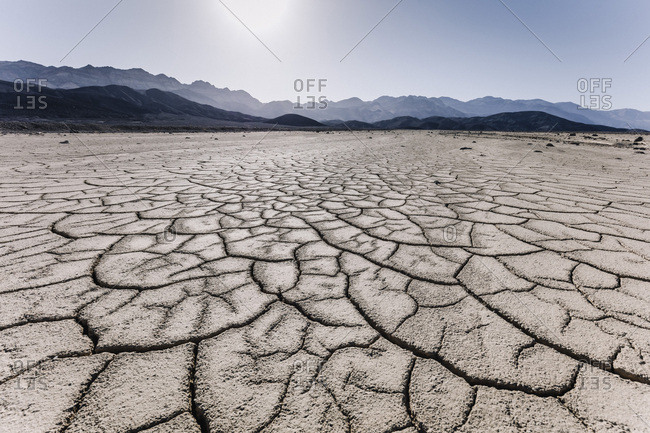 United States, California, Death Valley, The iconic view of a cracked flat in the Death Valley