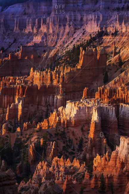 United States, Utah, Bryce Canyon National Park, elevated view of Bryce Canyon at sunrise