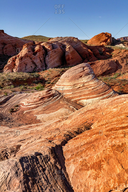 United States, Nevada, Valley of Fire State Park, The iconic view of the Fire Wave along the Fire wave Track in the Valley of Fire