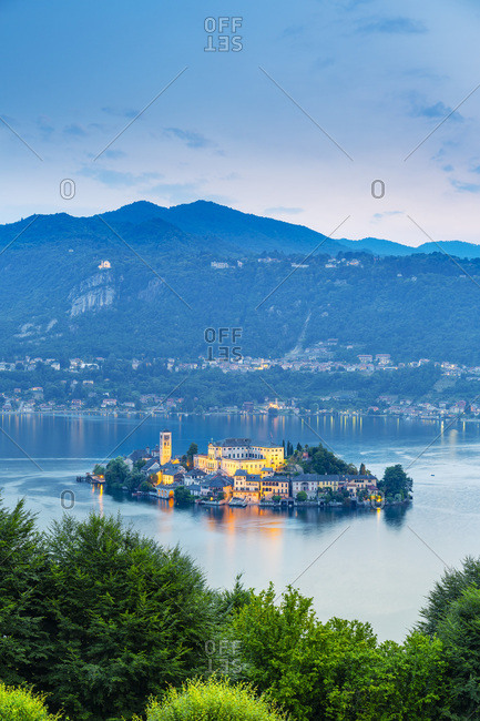 Italy, Piedmont, Novara district, Orta lake, San Giulio island, Regione dei laghi piemontesi, View towards Orta San Giulio Island and the Lake