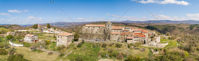 Panoramic aerial view of the medieval city of Hum at Istria region, Croatia.