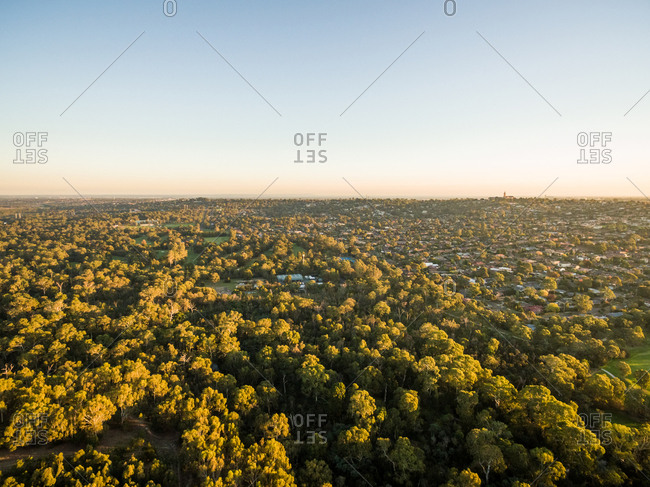 Aerial view of countryside neighborhood surrounding by trees, Melbourne, Australia.