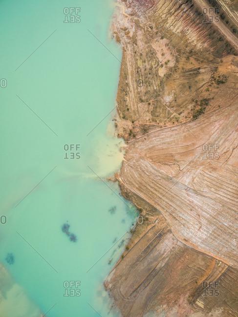 Aerial view of artificial water reservoir, Australia.