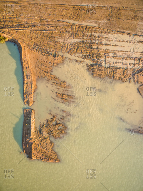 Aerial view of artificial water reservatory, Australia.