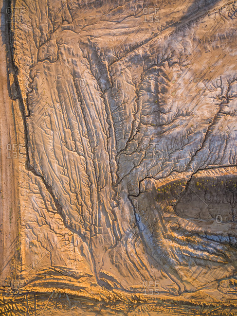 Abstract aerial view of dry soil formation, Australia.