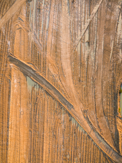 Aerial view of an abstract pattern created by truck tires marks, Australia.