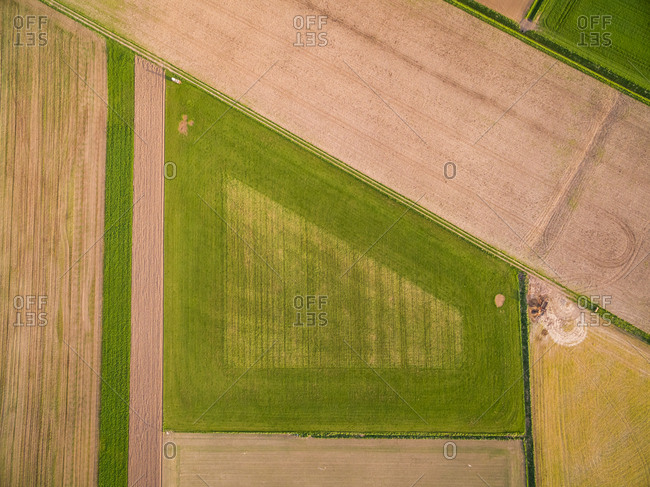 Aerial view above of abstract agricultural fields, Netherlands.