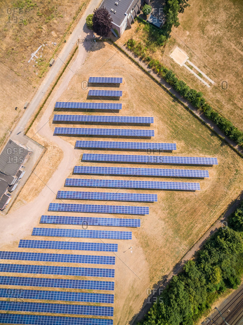 Aerial view of photovoltaic panels during sunny day, Zutphen, Netherlands.