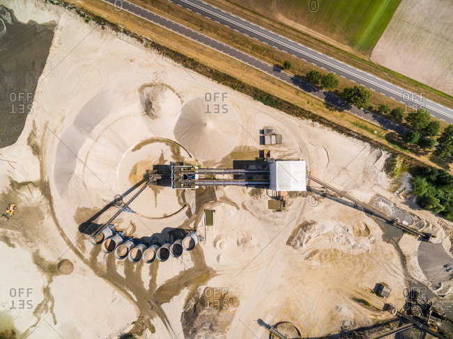 Aerial view of a sand factory near the road, Netherlands.